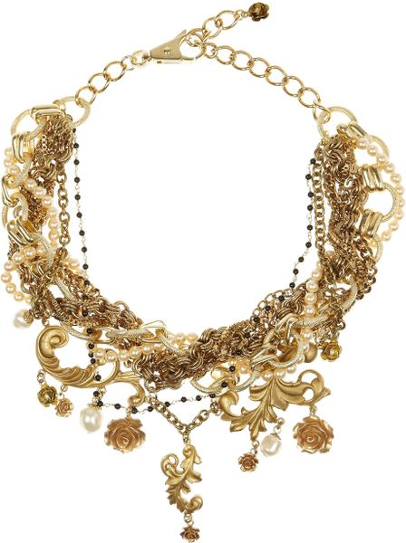 Dolce & Gabbana Goldplated Glass Pearl Necklace in Gold