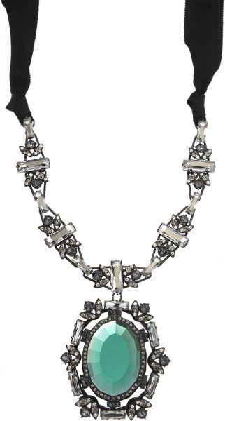 Lanvin Crystal Small Barbara Pendant Necklace in Green
