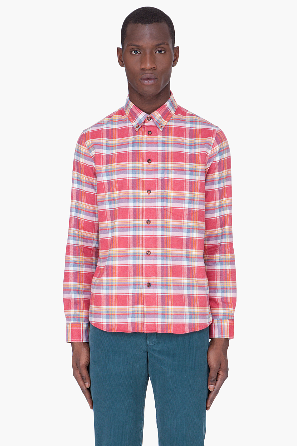 A p c coral plaid vintage shirt in pink for men coral for Coral shirts for guys