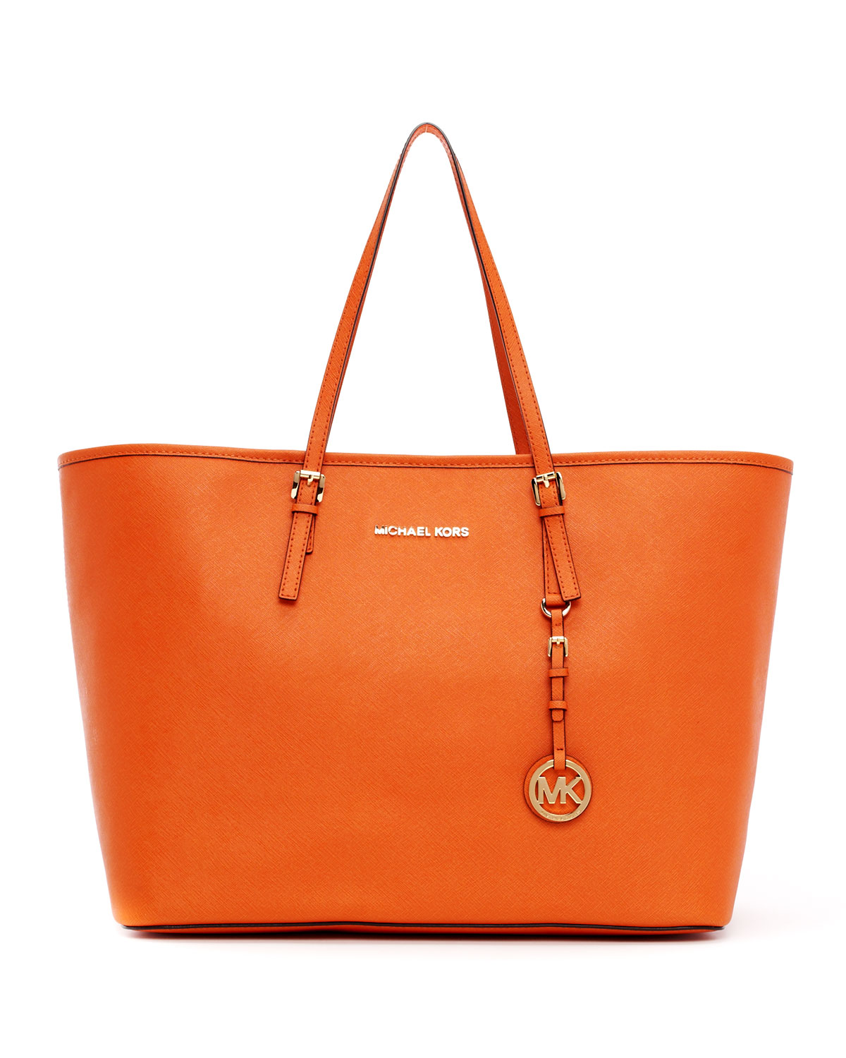 michael michael kors medium jet set saffiano travel tote bag in orange tangerine lyst. Black Bedroom Furniture Sets. Home Design Ideas