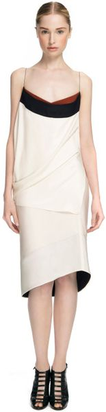 Narciso Rodriguez Ivory And Black Poly Drape Dress in White (ivory/black) - Lyst