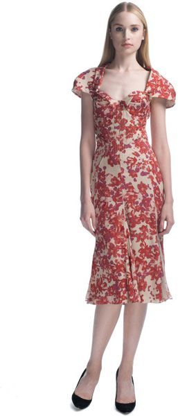 Zac Posen Hibiscus Printed Chiffon Cocktail Dress in Red (hibiscus print)