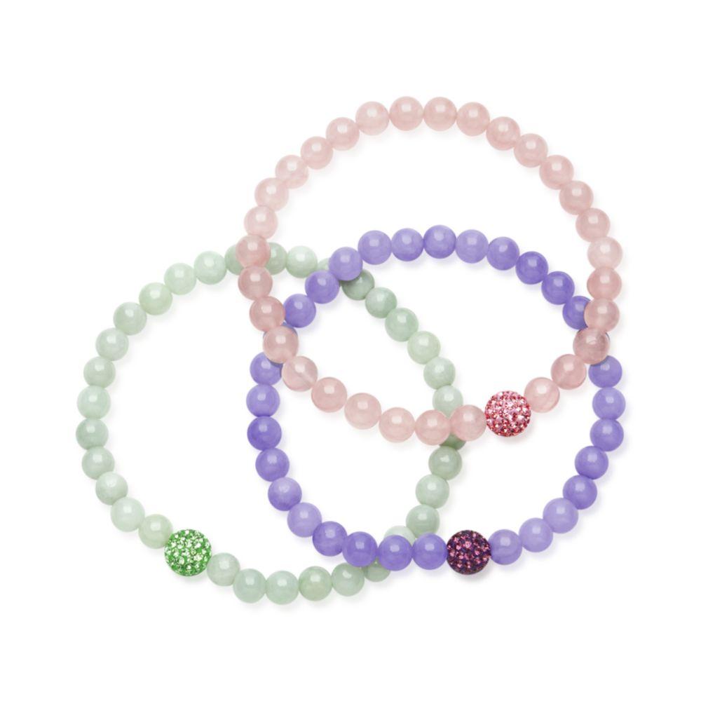 Lyst Hue Jade Bracelets Set Pink Green And Lavender Jade