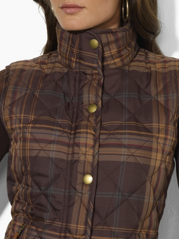 Lauren By Ralph Lauren Plaid Quilted Vest In Brown Lyst
