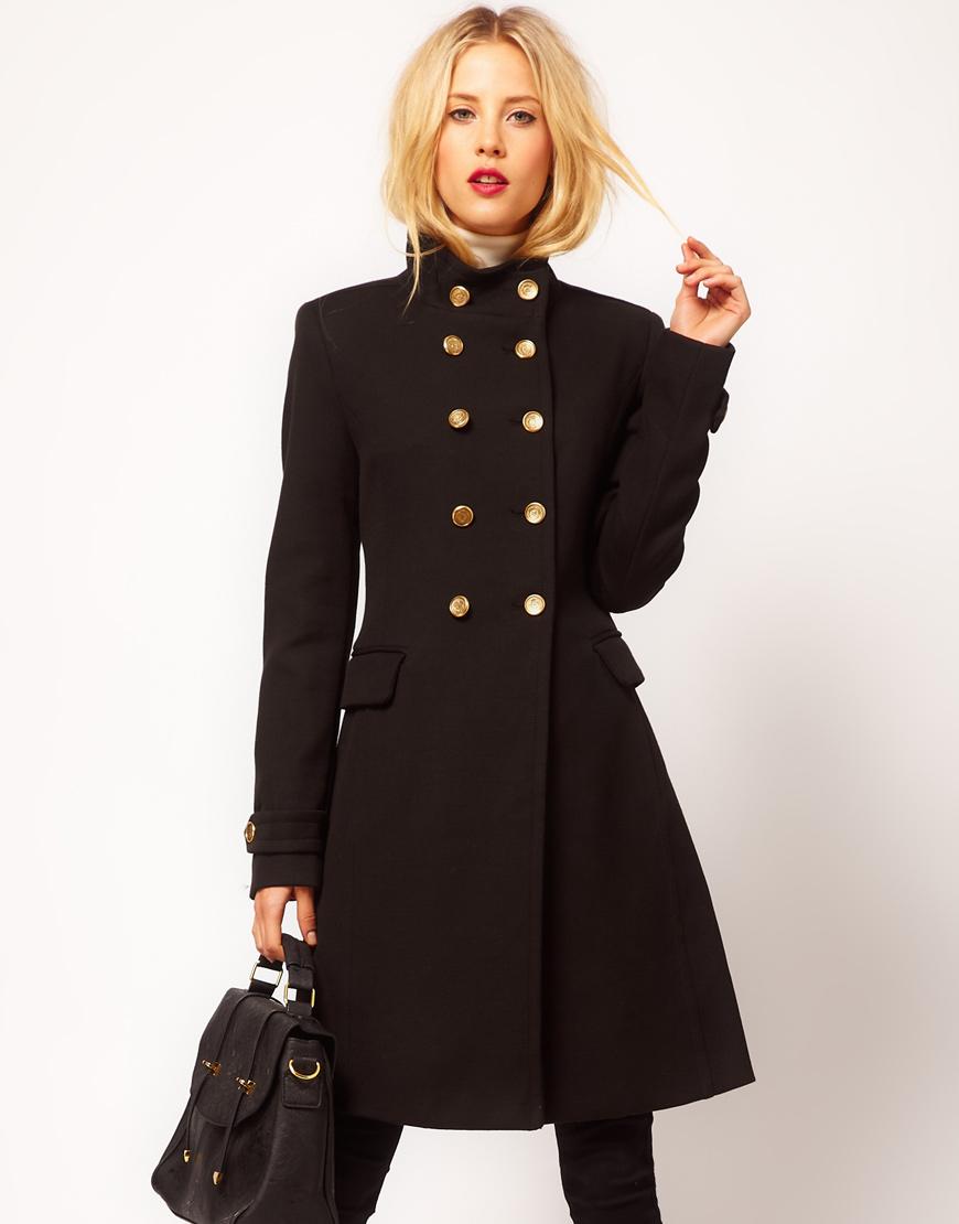 Mango funnel neck military coat in black lyst for Burberry damen mantel