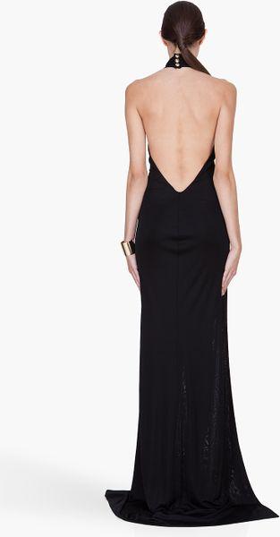 Balmain Long Black Backless Side Slit Dress In Black Lyst