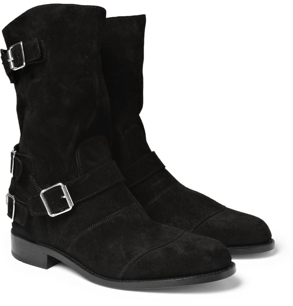 99e2c92298e Balmain Black Strapped Suede Biker Boots for men
