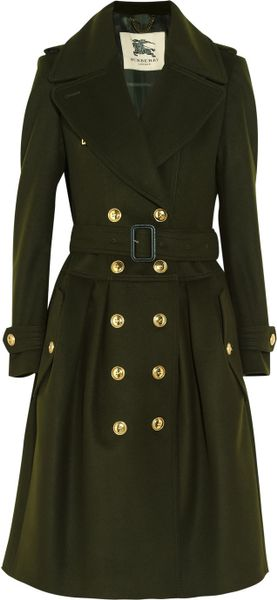 Burberry Wool and Cashmere Blend Trench Coat in Green (forest)