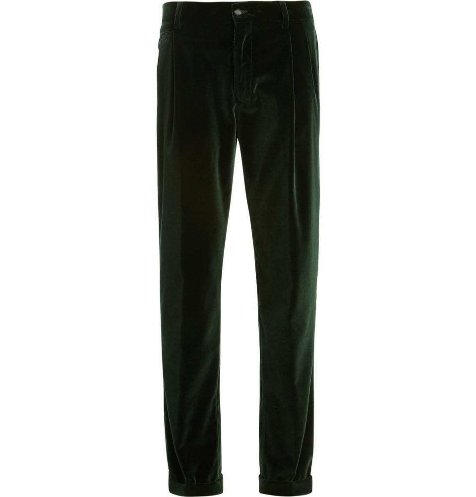 Dolce Amp Gabbana Tapered Leg Velvet Suit Trousers In Green