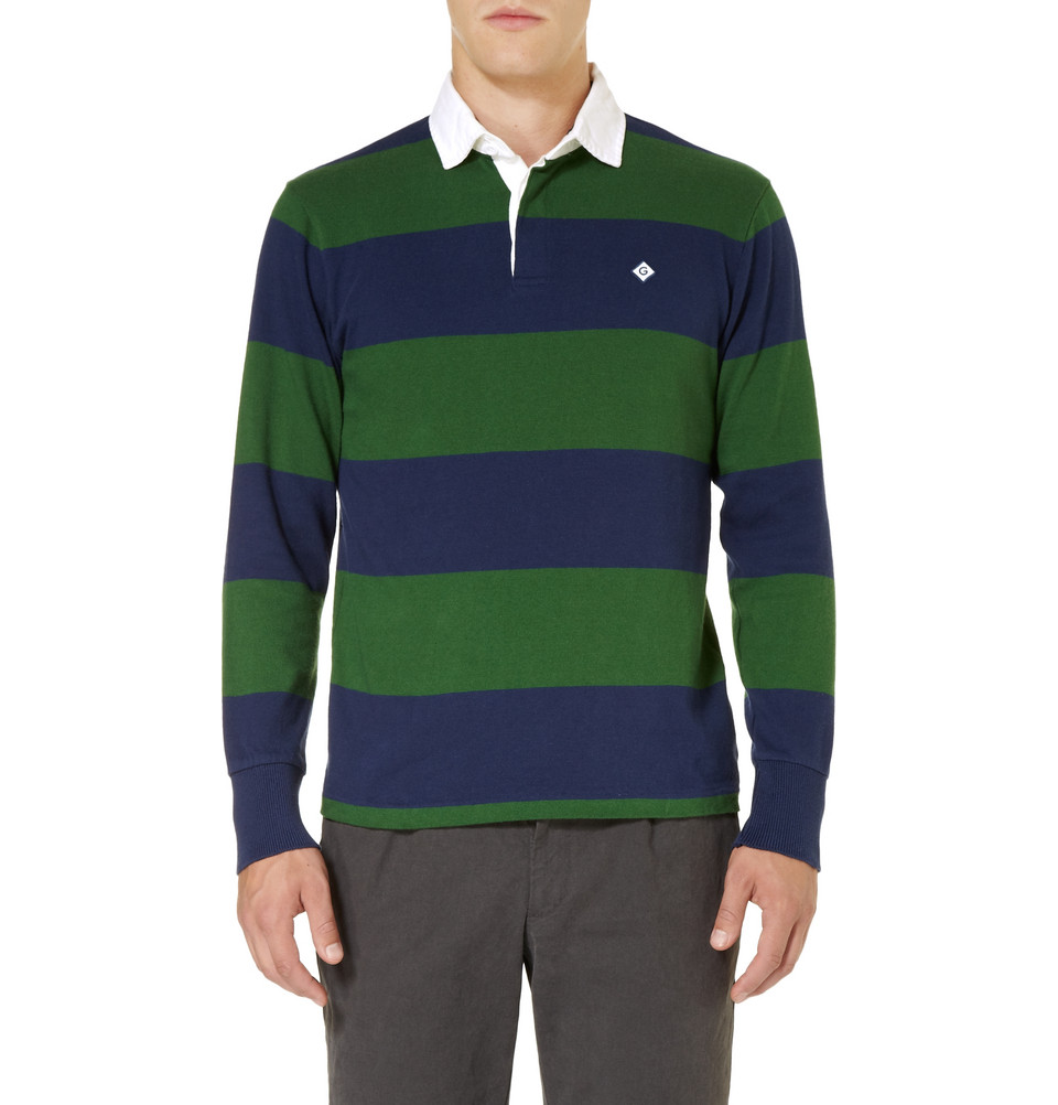 gant rugger striped cotton rugby shirt in blue for men lyst