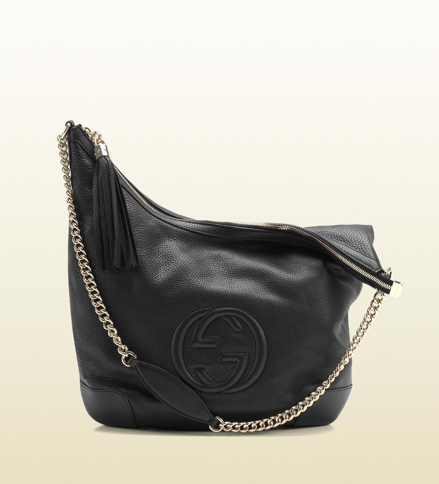 Lyst Gucci Soho Black Leather Shoulder Bag With Chain Strap In