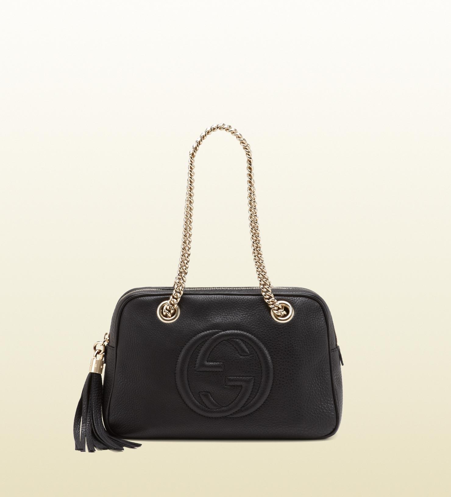 8babaf9ac555 Lyst - Gucci Soho Leather Shoulder Bag in Black