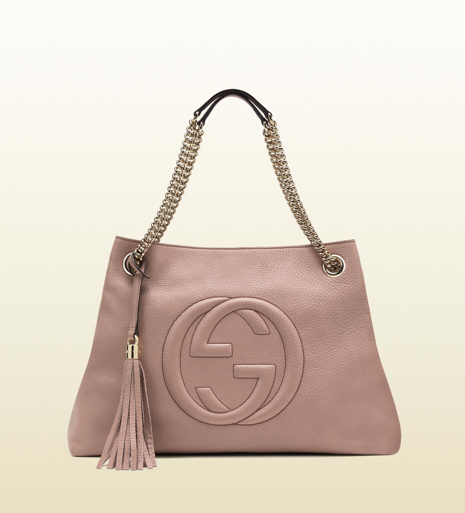 Gucci Soho Leather Shoulder Bag In Pink Lyst