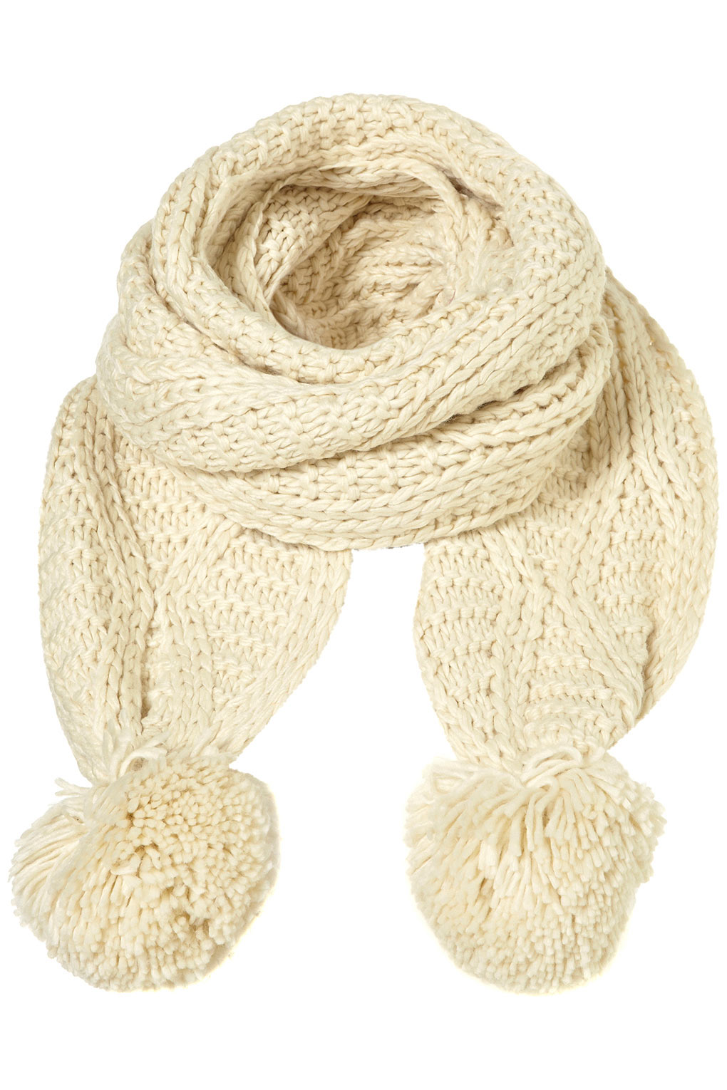 f4d384fc2f Lyst - TOPSHOP Cable Pom Pom Scarf in White