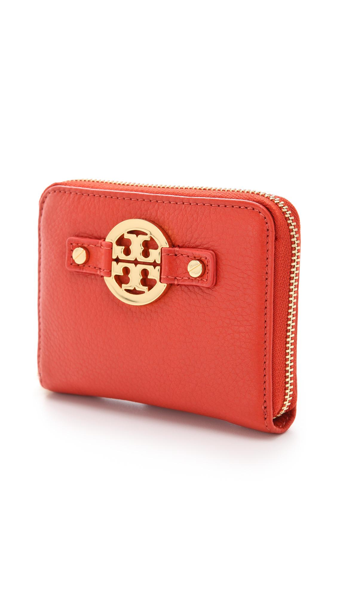 tory burch amanda zip coin wallet in red lyst