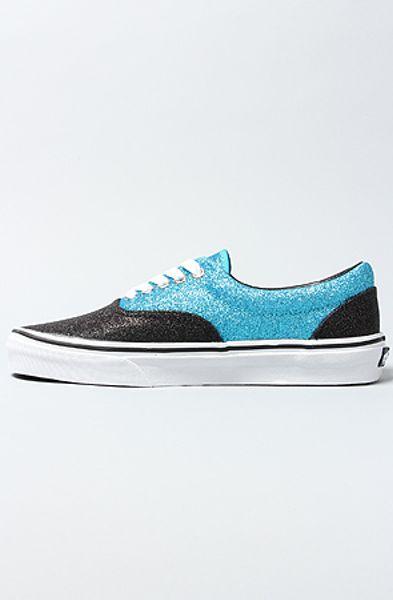 Vans The Era Sneaker in Scuba and Black Glitter in Blue  black Vans Blue And Black Glitter