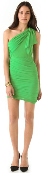 Alice + Olivia One Shoulder Drape Dress in Green