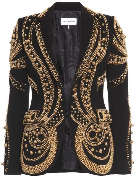 Emilio Pucci Metallic Bead Embroidered Blazer in Black