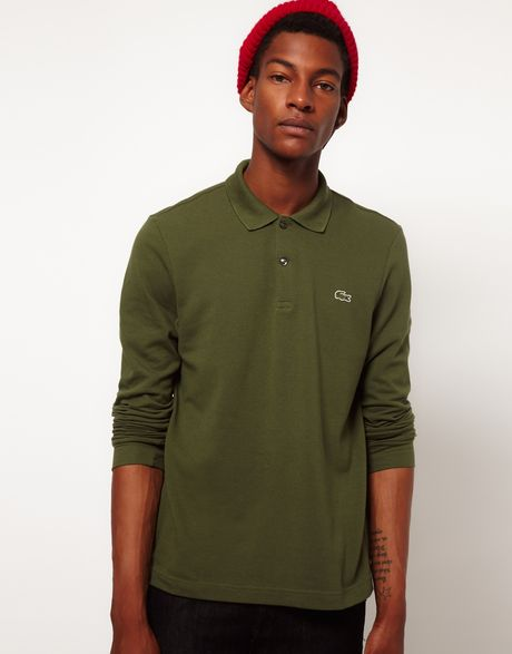 Lacoste L Ive Lacoste Live Long Sleeve Polo Shirt In Green