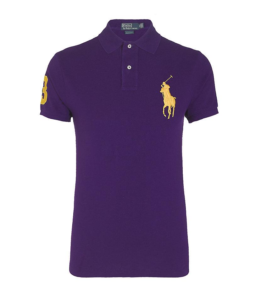 Polo ralph lauren big pony polo shirt in purple for men lyst for Black ralph lauren shirt purple horse