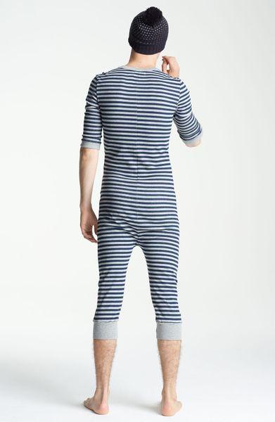 Topman Stripe Button Front Union Suit In Gray For Men