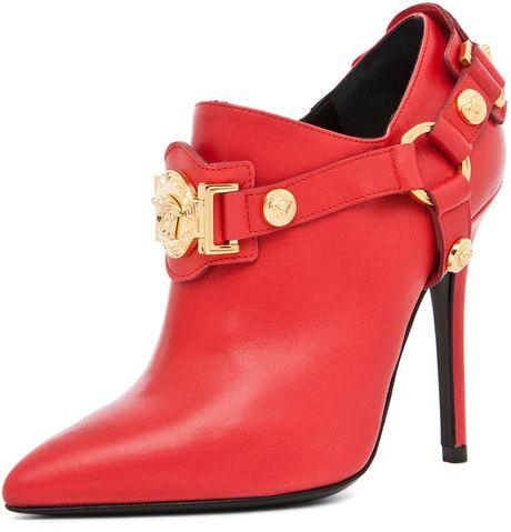Versace Harness Bootie in Red in Red