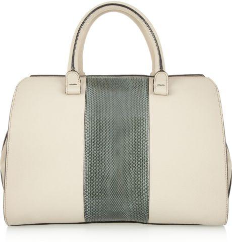 Victoria Beckham The Soft Victoria Leather and Watersnake Tote in White (forest)