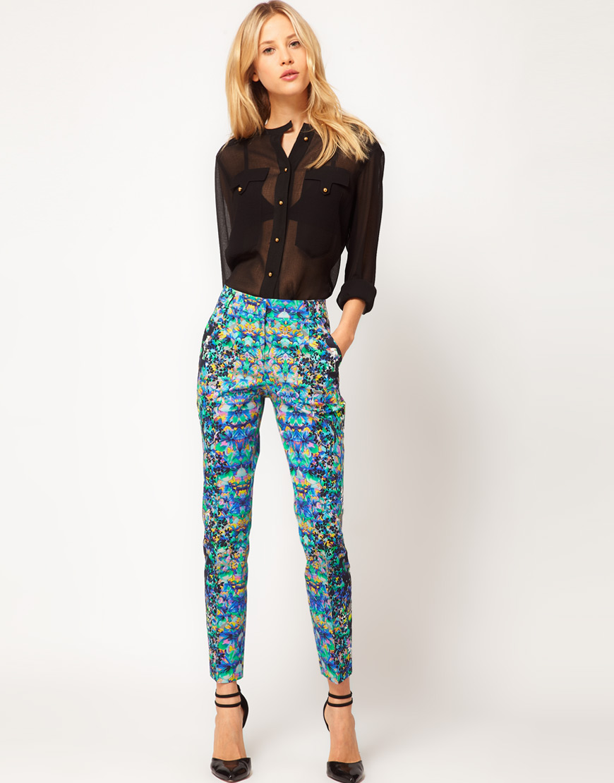 Asos collection Asos Crop Trousers in Floral Print in Blue ...