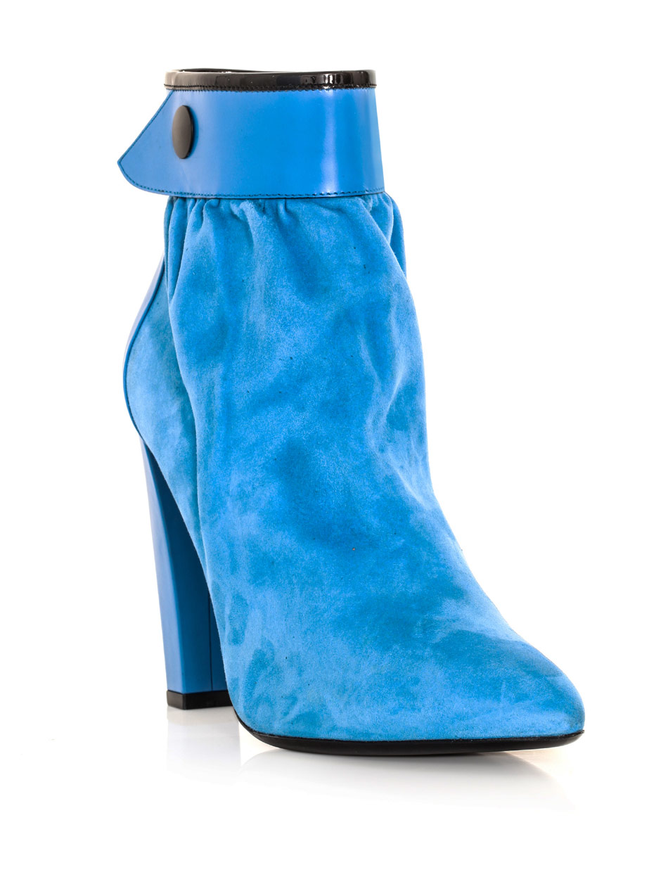 47ce86dcf Balenciaga Gathered Suede Ankle Boots in Blue - Lyst