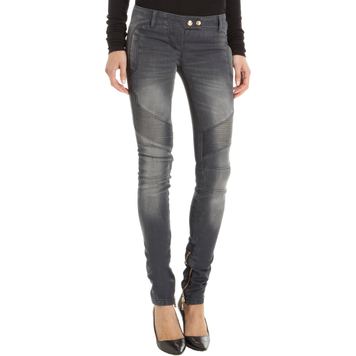 balmain moto jeans in gray denim lyst. Black Bedroom Furniture Sets. Home Design Ideas