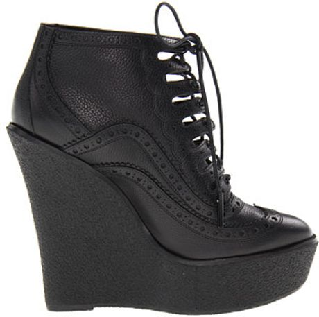 burberry brogue leather wedge ankle boots in black lyst