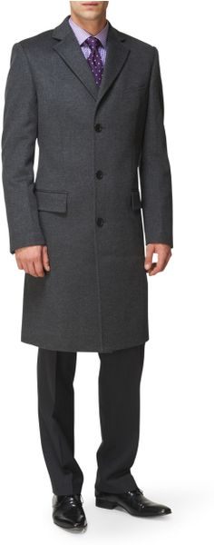 Jaeger Single Breasted Overcoat in Gray for Men (grey) | Lyst