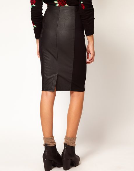 river island leather look panel pencil skirt in black lyst