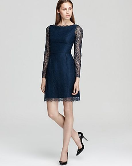 Shoshanna  Minka Long Sleeve Lace Dress in Blue (dark teal)