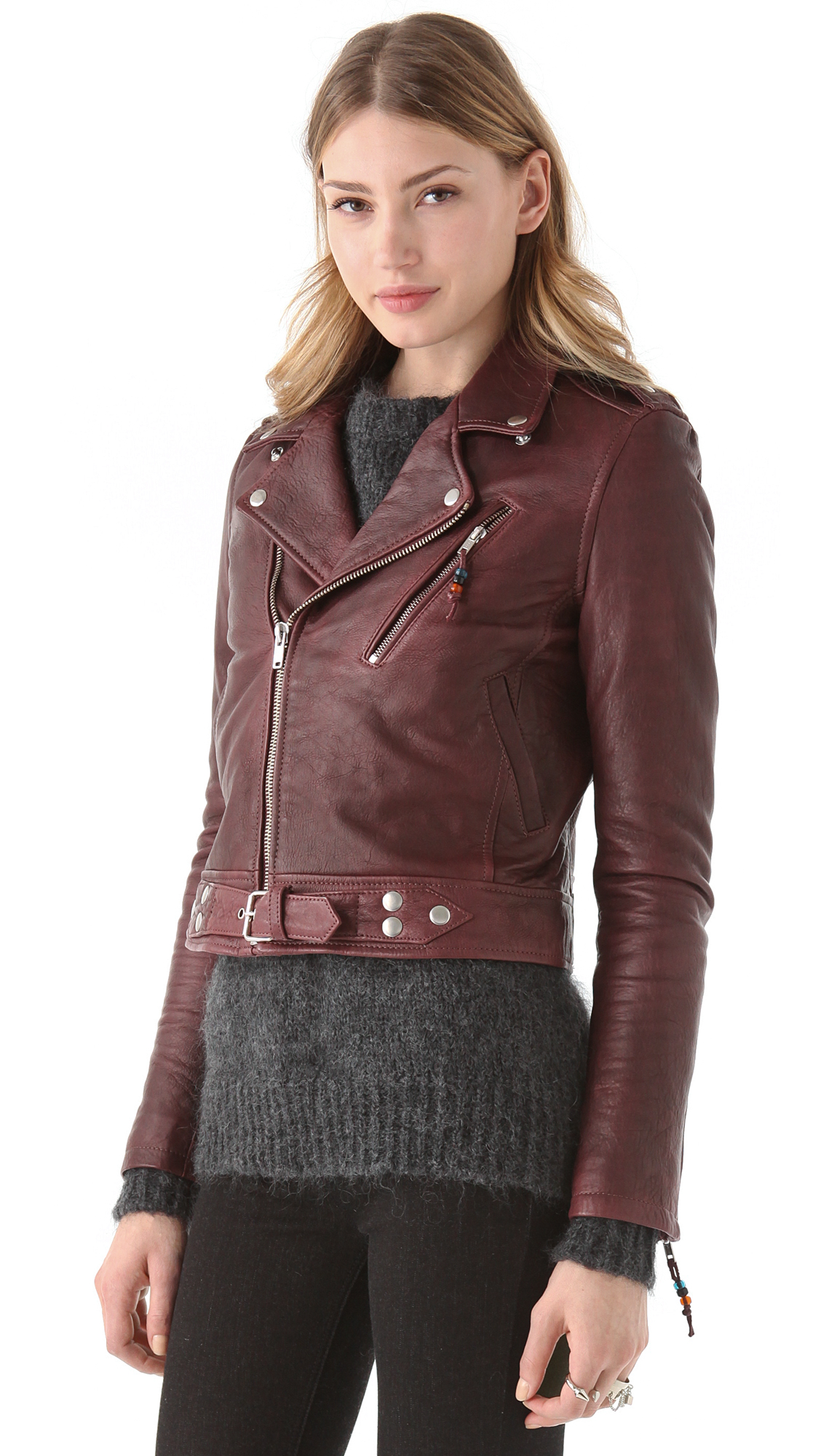 Lyst Blk Dnm Cropped Leather Jacket In Purple