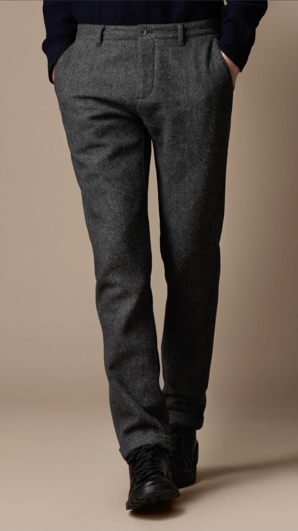 Burberry Brit Skinny Fit Wool Blend Trousers in Flint (Grey) for Men