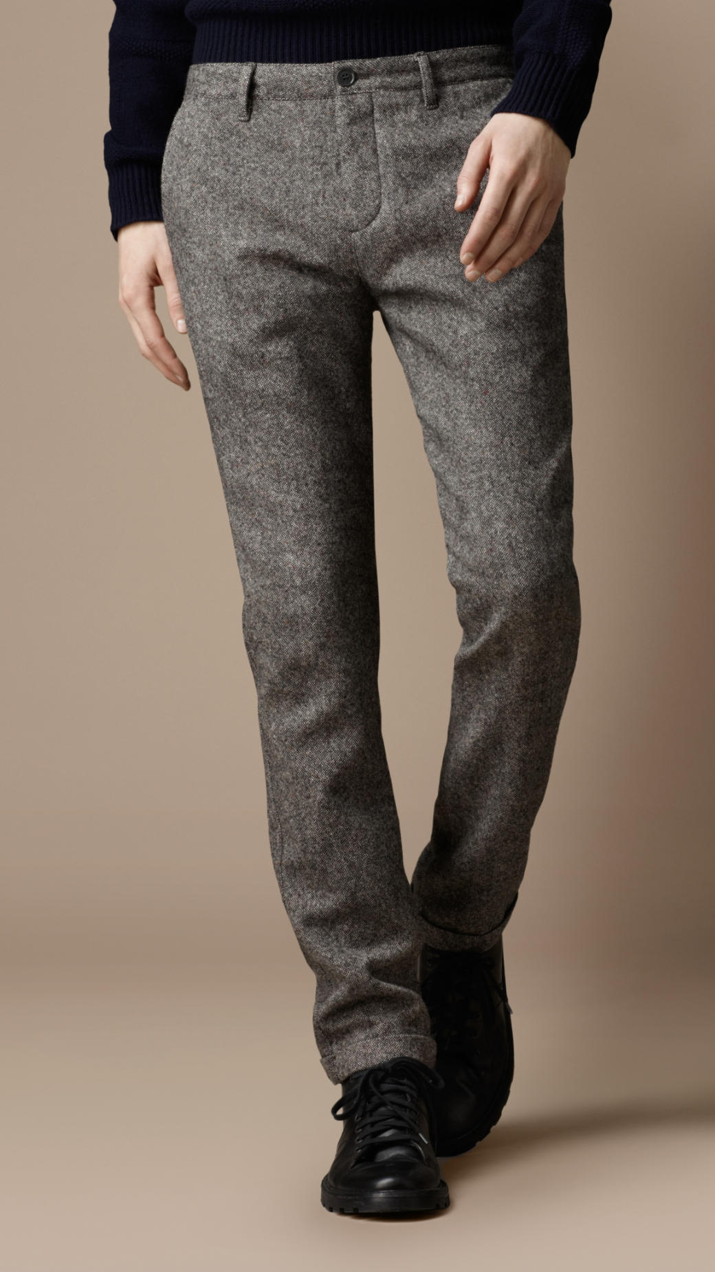 Burberry Brit Skinny Fit Wool Blend Trousers In Pale Grey
