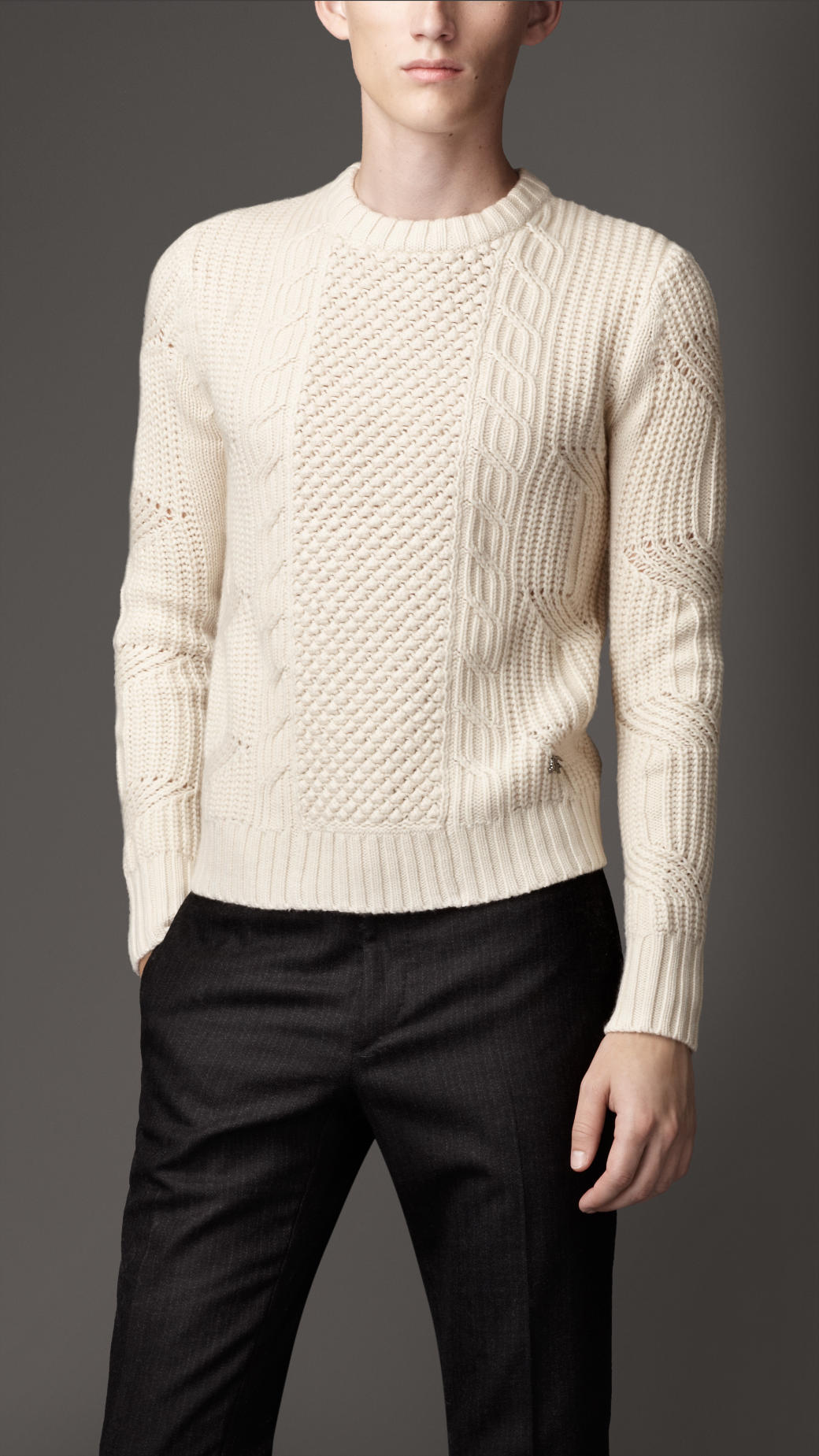 Burberry Aran Knit Cashmere Sweater In Natural White