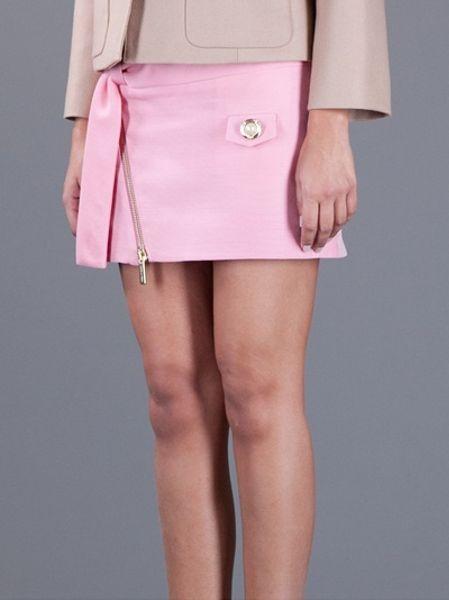 Dsquaredu00b2 Zip Up Mini Skirt in Pink | Lyst