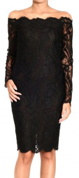 Emilio Pucci Strapless Long Sleeve Lace Dress In Black Lyst