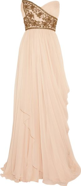 Marchesa Embellished Silkchiffon Strapless Gown in Pink (blush)