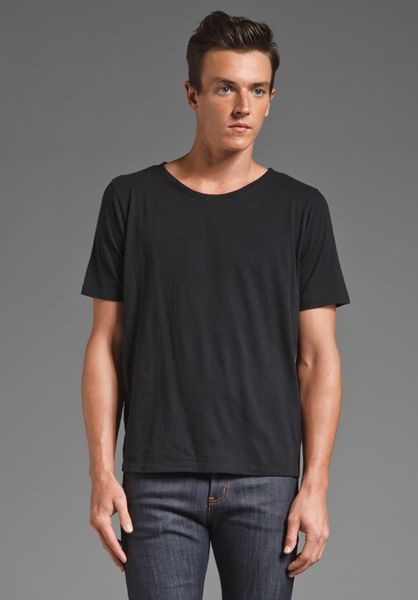 Nudie Jeans Wide Neck T Shirt In Black For Men Lyst