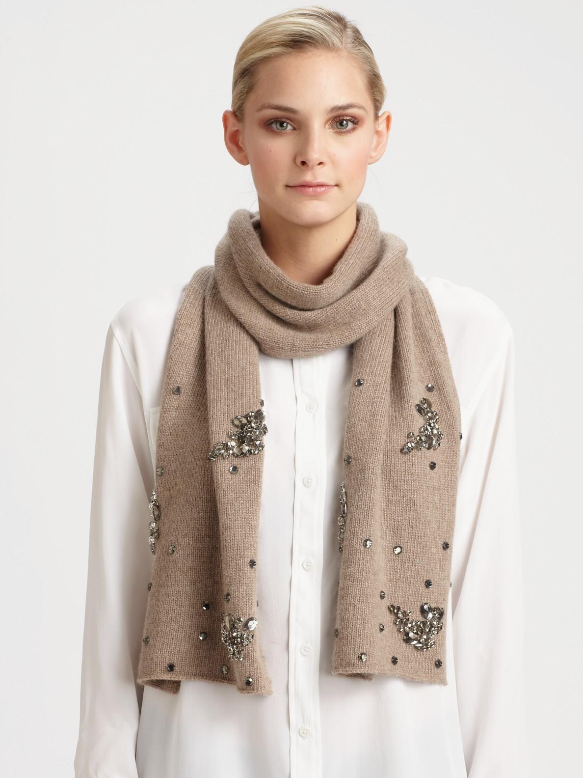 portolano embellished scarf in brown nilebrown