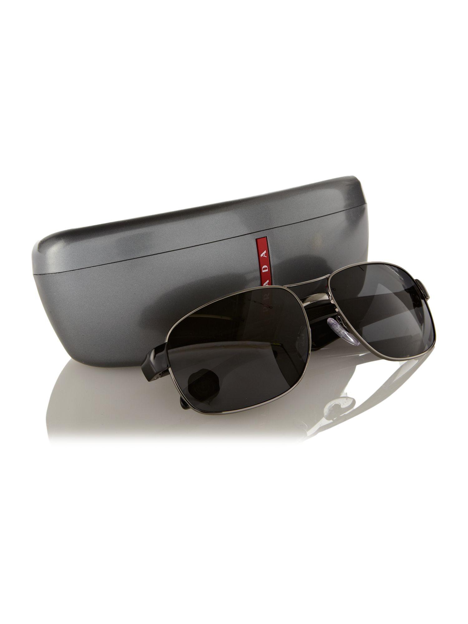 Prada Mens Ps58ns Gunmetal Sunglasses in Black for Men