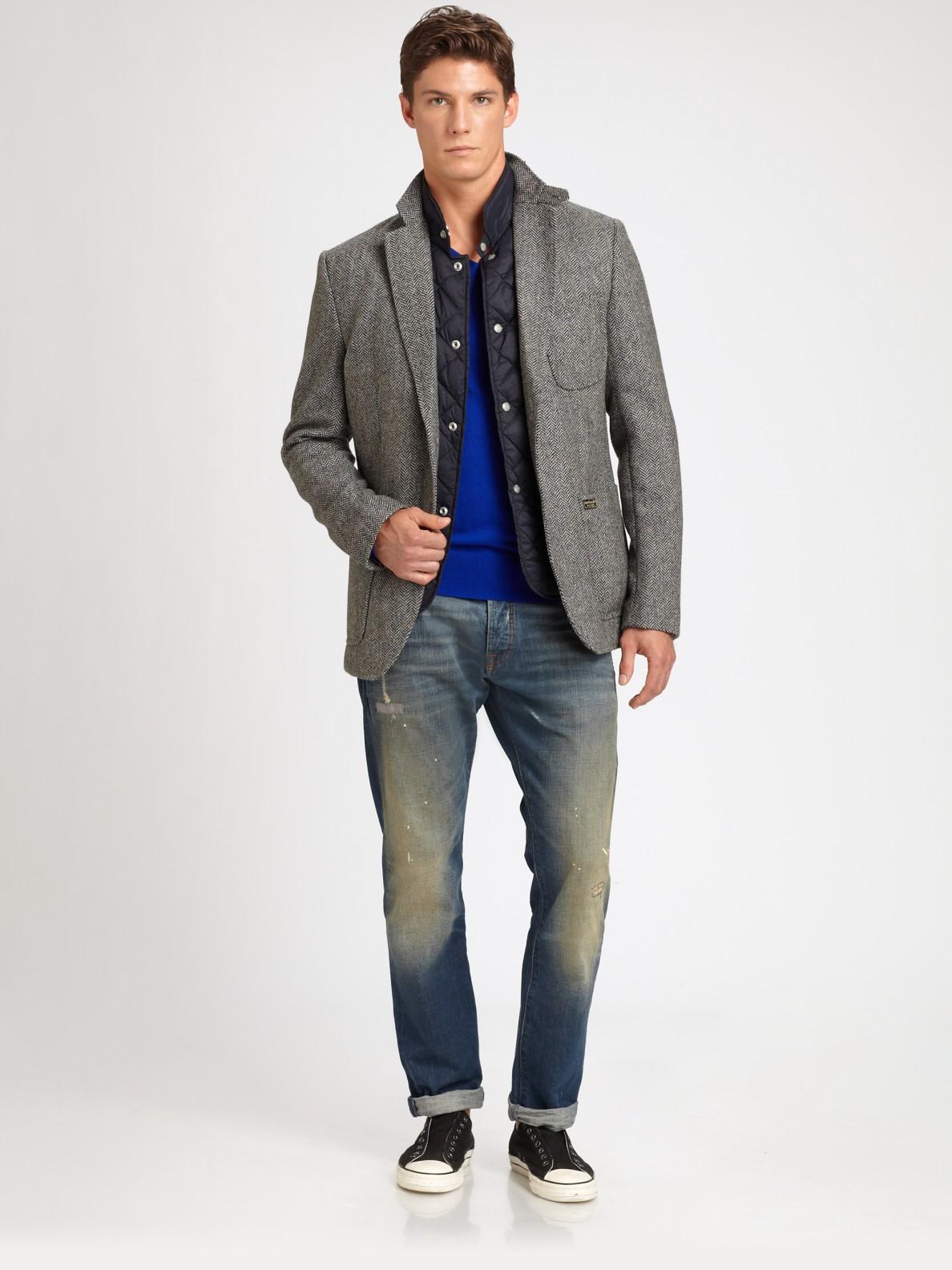 Scotch Amp Soda Herringbone Blazer In Grey Gray For Men Lyst