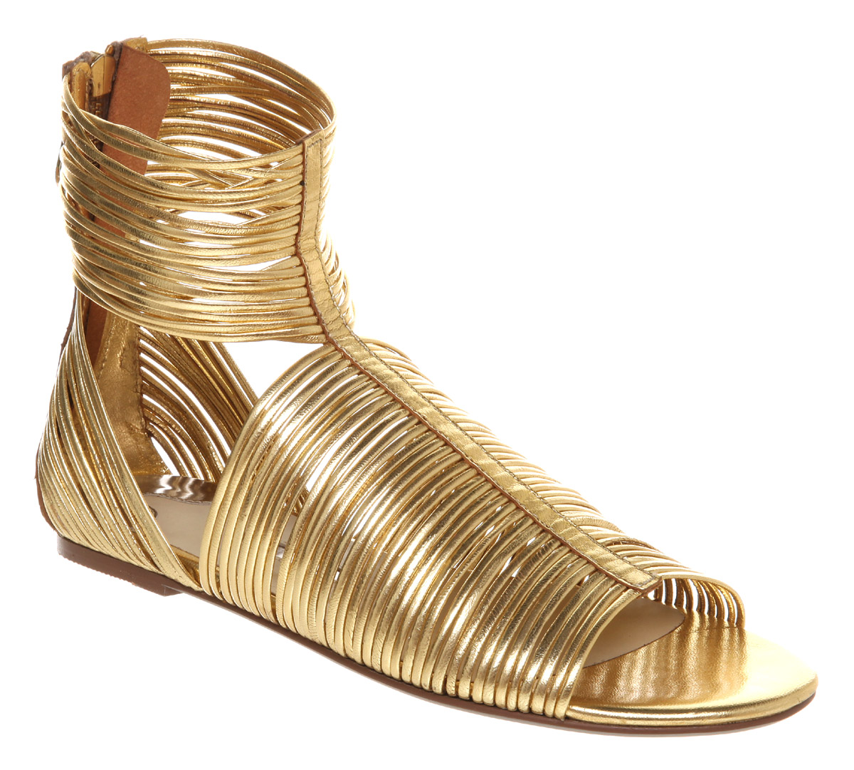Ted Baker Roza Strippy Gladiator Gold Kid Leather In