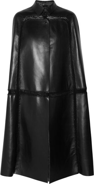 Valentino Paneled Leather Cape In Black Lyst