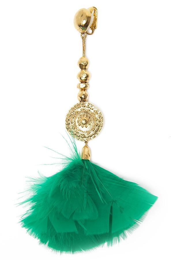 Lyst Aurelie Bidermann Cite Dor Feather Earring In Green