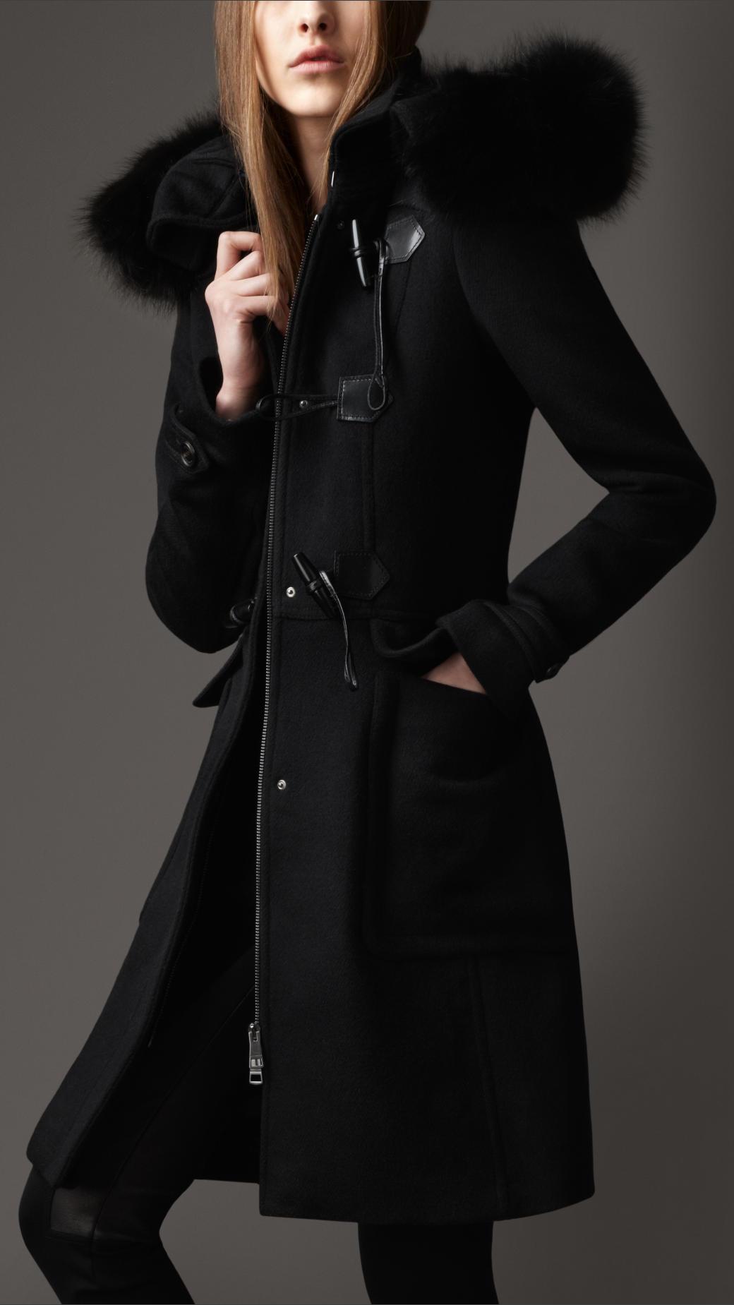 Burberry Fur Trim Hooded Duffle Coat in Black | Lyst