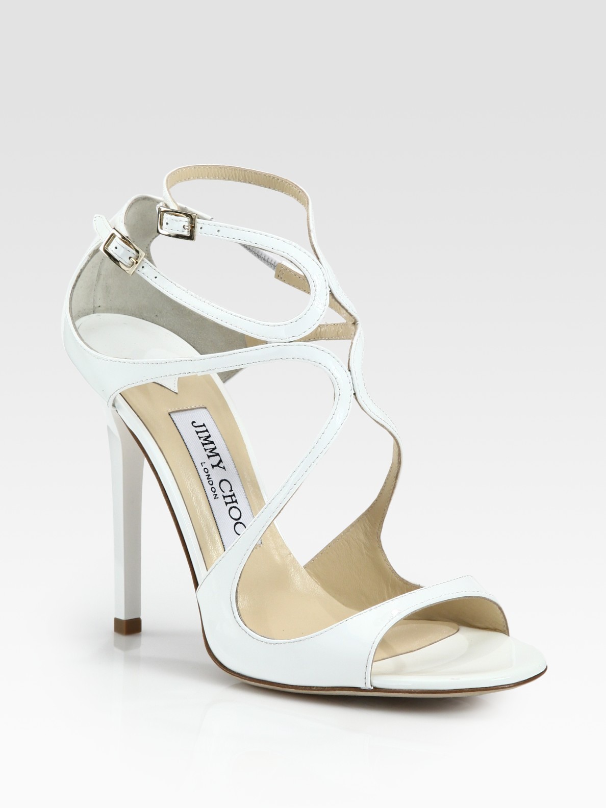 d83700dad054f Jimmy Choo Lance Patent Leather Sandals in White - Lyst